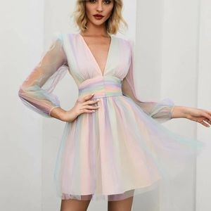 New Dolls Kill Pastel Rainbow Sheer Spring Dress